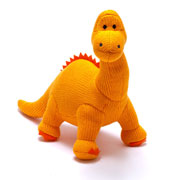 Knitted Orange Dippy The Diplodocus Soft Toy Dinosaur