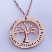 Stainless Steel Rose Gold Family Tree Necklace