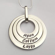 Personalised Hand Stamped Offset Washer Mummy Necklace