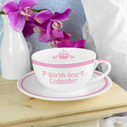 Pink World's Best Teacup & Saucer - Mum, Nan, Godmother etc