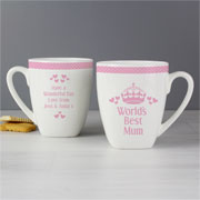 Personalised Pink Worlds Best Mummy Nan Auntie Latte Mug