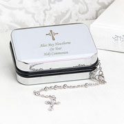 Silver Rosary Beads & Personalised Engraved Cross Rosary Box