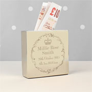 Engraved Royal Crown Square Money Box