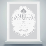 Personalised Royal Crown White Poster Frame