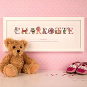 Premium Personalised Illustrated Christening Name Frame