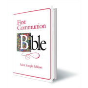 Girls Large First Communion Bible Pink