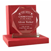 Engraved Best Godmother Cut Glass Presentation Gift