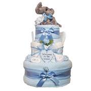 Three Tier Baby Boy Dumbo Nappy Cake