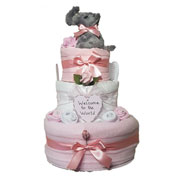 Three Tier Baby Girl Elephant Nappy Cake