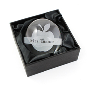 Engraved Apple Dome Paperweight