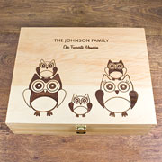 Personalised Owl Wooden Family Memory Box