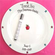 Hand Painted Teachers Signature Plate Apple Design