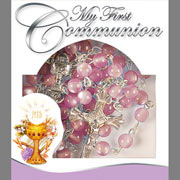 First Communion Pink Glass Rosary
