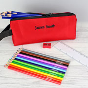 Personalised Red Pencil Case & Pencils