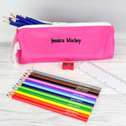 Personalised Pink Pencil Case & Pencils