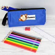 Personalised Blue Monkey Pencil Case & Pencils