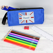 Personalised Blue Patchwork Union Jack Pencil Case a Pencils