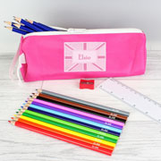 Personalised Pink Patchwork Union Jack Pencil Case & Pencils
