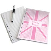 Personalised Pink Patchwork Union Jack A5 Notebook