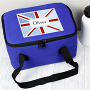 Personalised Blue Patchwork Union Jack Lunch Bag