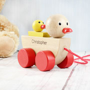Personalised Duck and Duckling Pull-Along Wooden Toy