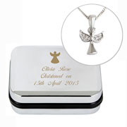 Personalised Silver Plated Girl's Angel Necklace and Box