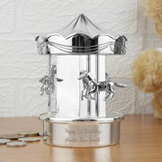 Silver Plated Personalised Moving Carousel Baby Moneybox