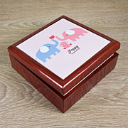 Personalised Pink Baby Elephants Trinket Box