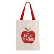 Teacher Apple Themed Canvas Gift Bag