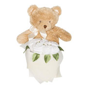 Teddy Bouquet Box With Baby Clothes White