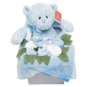 Teddy Bouquet Box For Baby Boy With Blue Baby Clothes