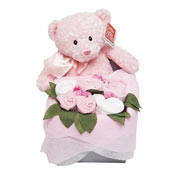 Teddy Bouquet Box Baby Girl Pink