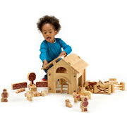 Deluxe Fair Trade Natural Wood Barn & Farm Set by Lanka Kade
