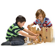 Deluxe Fair Trade Natural Wood Castle Fortress by Lanka Kade