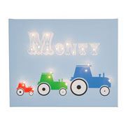 Personalised Illuminated 3 Tractors Canvas