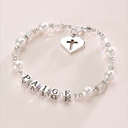 Pearl Christening Name Bracelet with Silver Heart
