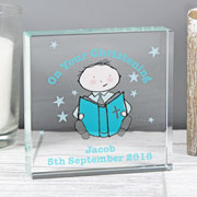 Personalised Christening / Communion Crystal Token - Boy