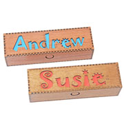 Personalised Named Wooden Pencil Box - Blue, Red or Yellow