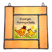 Mummy, Daddy and Baby Personalised Sun Catcher