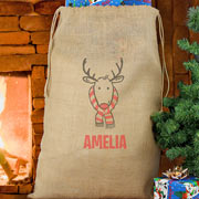 Personalised Hessian Santa Sack Retro Reindeer