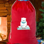Personalised Polar Bear Cotton Christmas Sack