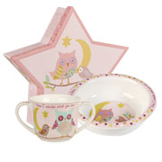 China Twinkle Twinkle Pink Porringer & Mug Set