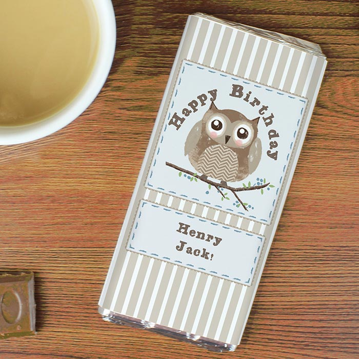 Personalised Woodland Owl Chocolate Bar Free Delivery