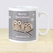 Personalised Christmas Woodland Owl Mug