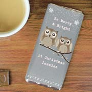 Personalised Christmas Woodland Owl Chocolate Bar