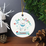 Polar Bear My 1st Christmas Personalised Round Decoration