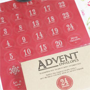 East of India Vintage Style Advent Envelopes & Sticker Set