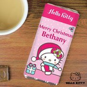 Personalised Hello Kitty Pink Christmas Chocolate Bar