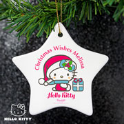 Personalised Hello Kitty Pink Christmas Ceramic Star