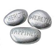 Set of Three Pewter Pebbles 'Health, Wealth & Happiness'